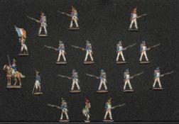 France - Infanterie de ligne en carré. 1812-1815. 1 officier à cheval, 1 officier à pied, 1 tambour,