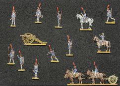 France - Artillerie de ligne. Artilleurs à pied au feu. 1 général à cheval, <br>1 officier à cheval,