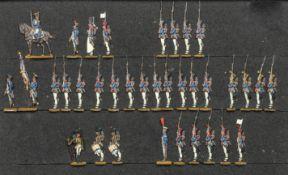 France - Infanterie de ligne. 1812-1815. 1 officier à cheval, 2 officiers à pied, 1 sapeur, 2 fanion