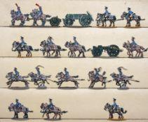 France - Train des équipages. Chevaux attelés au pas, à l'arrêt et au galop, caisson, canon (18 fig.