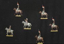 France - Chevau-Légers. Lanciers français. Le 3ème régiment au pas. <br>1 officier, 1 trompette, 4 s