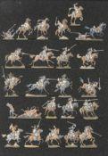 France - Cavalerie lourde. La charge du 5ème cuirassier à Waterloo. 1 officier, 1 trompette, 20 sold