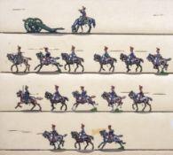 France - Artillerie de ligne. Canonniers à cheval au trot. 1 officier en observation, 2 officiers au