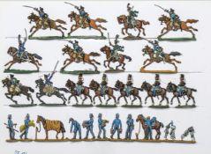 France - Cavalerie légère. Le 1er hussards à la charge et aux corvées, le 2ème régiment au pas. (25