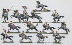 France - Cavalerie lourde. Les carabiniers à la charge à Waterloo. 2 officiers, 2 trompettes, l'éten