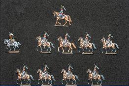France - Cavalerie lourde. Cuirassiers. Le 3ème régiment au pas. 1 trompette, 1 officier, 8 soldats