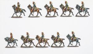 France - Cavalerie légère. Le 6ème hussards au trot. 1 officier et 1 trompette, <br>8 soldats. (10 f