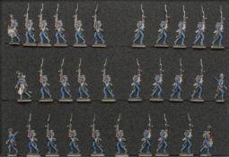 France - Garde impériale. Les Chasseurs à pied en marche pantalon bleu. 1812-1815. 2 officiers, 2 ta