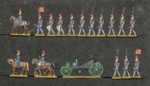 France - Garde impériale. Le génie en marche avec forge attelée. 2 officiers à cheval, tambours, fan