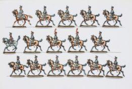France - Cavalerie légère. Le 3ème régiment de hussards au trot. 1 officier, <br>1 trompette, 14 sol