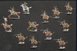France - Garde impériale. Les dragons à la charge, 1 officier, 1 trompette, l'étendard, 9 soldats. (