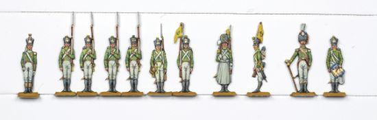 France - Garde impériale. Flanqueurs de la Jeune Garde. 1 officier, <br>1 tambour-major, 1 tambour,