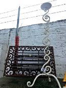 Metal Door Mat and Wrought Iron Candle Holder