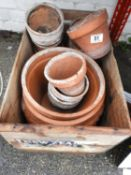 Terracotta Pots in Wooden Crate