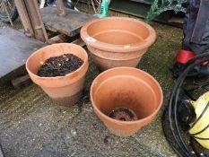 3x Terracotta Pots