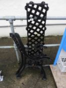 Pair of Metal Bench Ends and Lattice Back