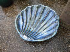 Glazed Bird Bath - Shell Form
