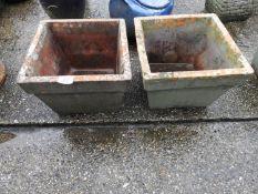 Pair of Square Terracotta Planters