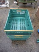 4x Plastic Supermarket Crates