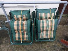 Pair of Folding Garden Chairs with Cushions
