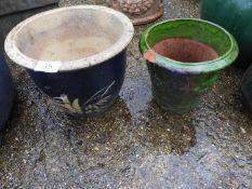 2x Glazed Garden Planters - 1x A/F