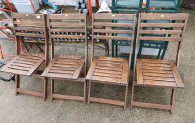4x Folding Wooden Garden Chairs