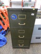 Vintage Three Drawer Metal Filing Cabinet
