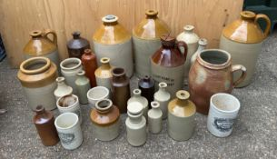 Quantity of Stoneware Pots and Flagons