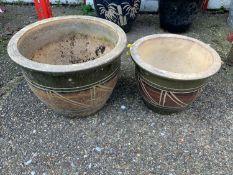 2x Glazed Planters
