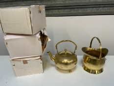 New Old Stock - 4x Brass Kettles and Coal Scuttle