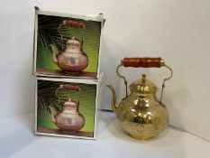 New Old Stock - 2x Boxed Brass Kettles
