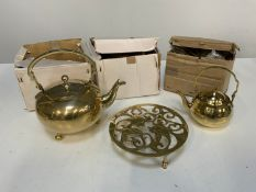 New Old Stock - 2x Brass Kettles, 1x Small Brass Kettle and Trivet