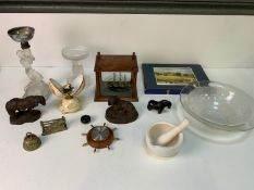 Pestle and Mortar, Model Ship, Brass and Unused Table Mats etc
