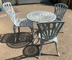 Metal Garden Table and Three Chairs