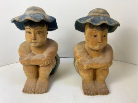 2 x Wooden Seated Figures