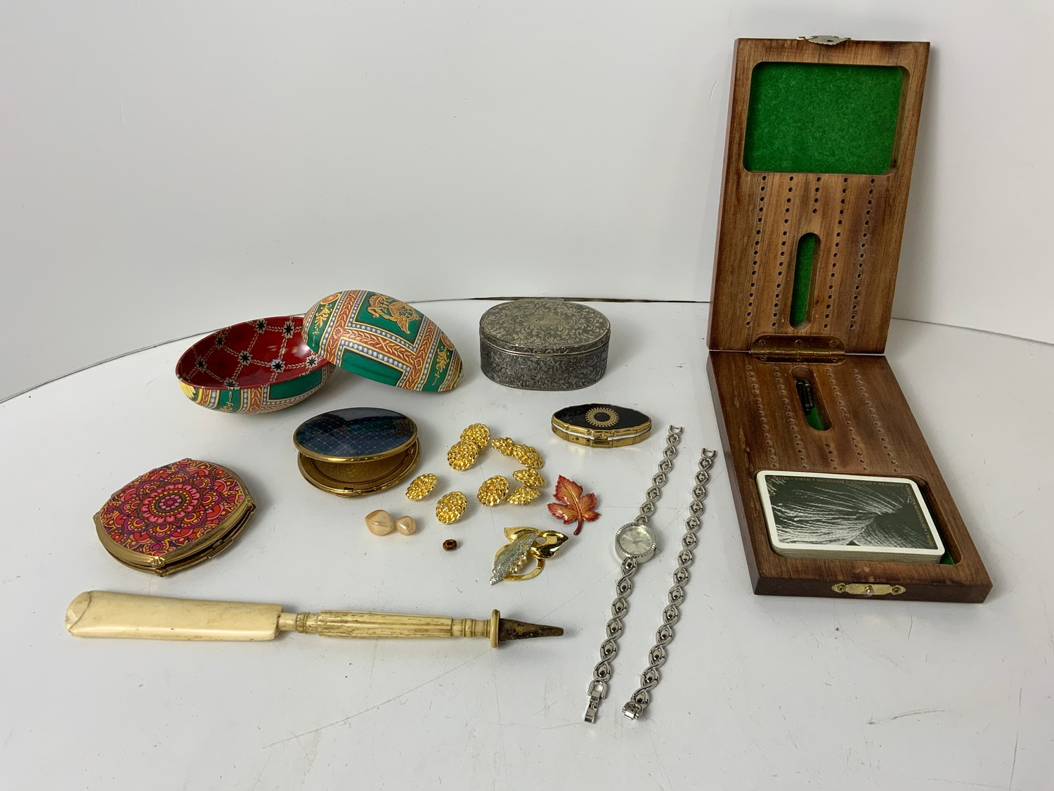 Powder Compacts, Cribbage Game, Watch and Matching Bracelet