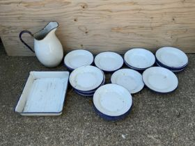 Enamel Ware Large Jug Plates and Dishes