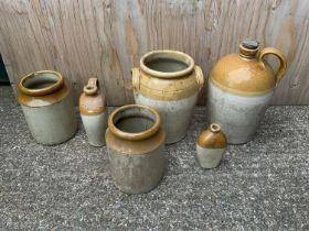 Stoneware Flagon Jars etc