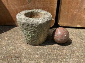 Granite Pot and Ball - 17cm High