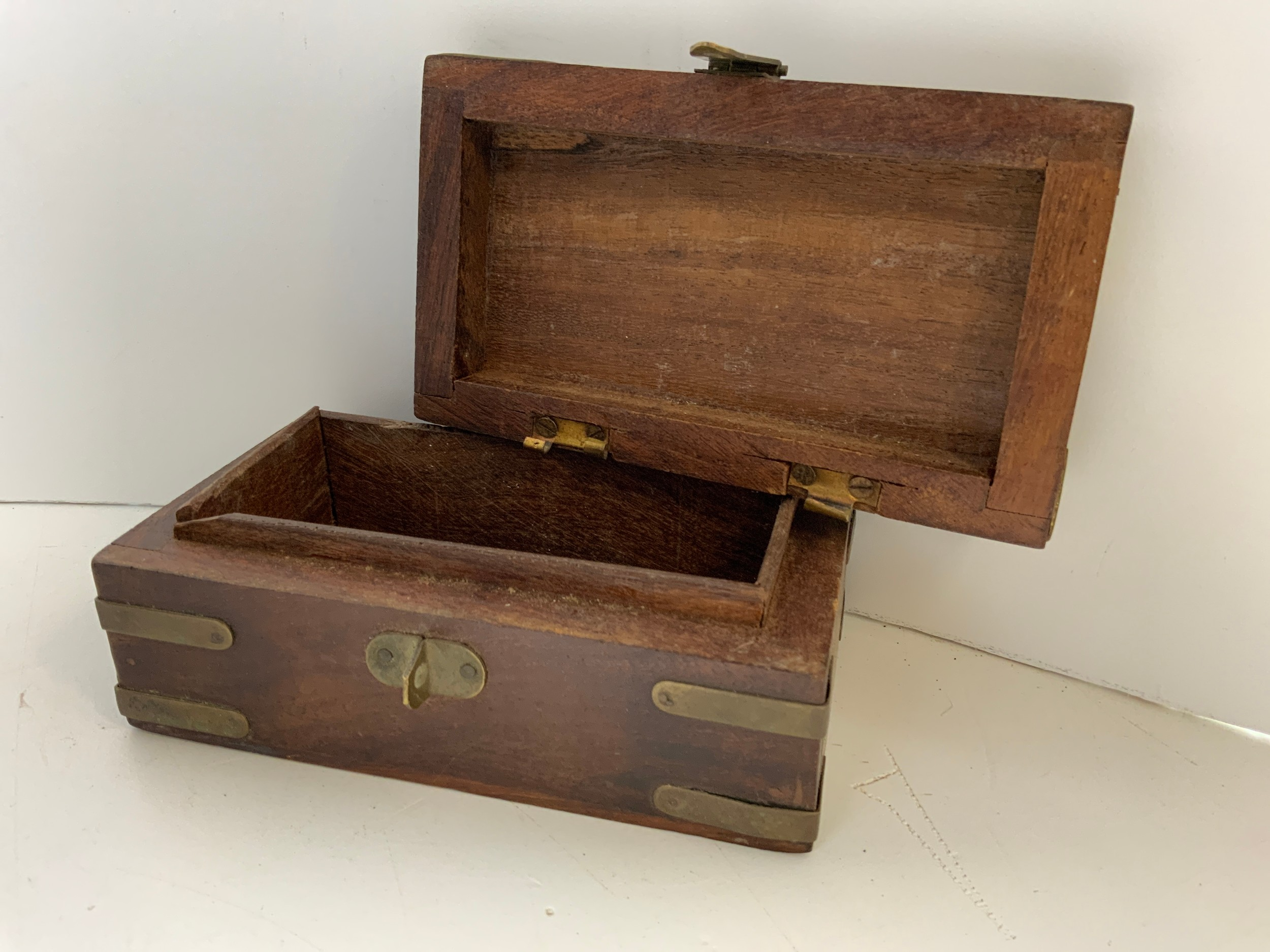 Oak Cutlery Box, Brass Bound Trinket Box and Ebony Writing Box for Restoration - Image 3 of 3
