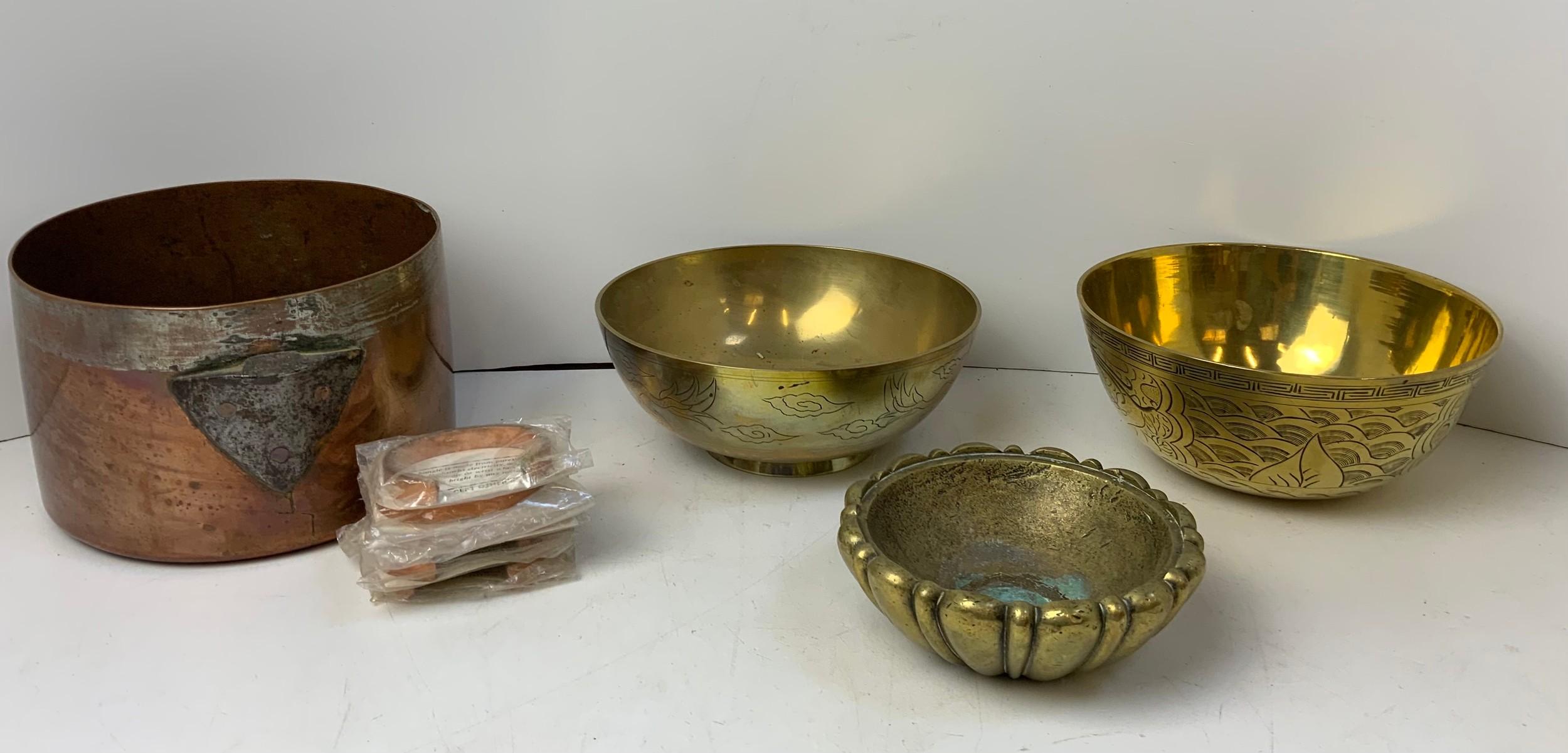 Copper Saucepan (No Handle), 2x Oriental Brass Bowls and Heavy Brass Bowl