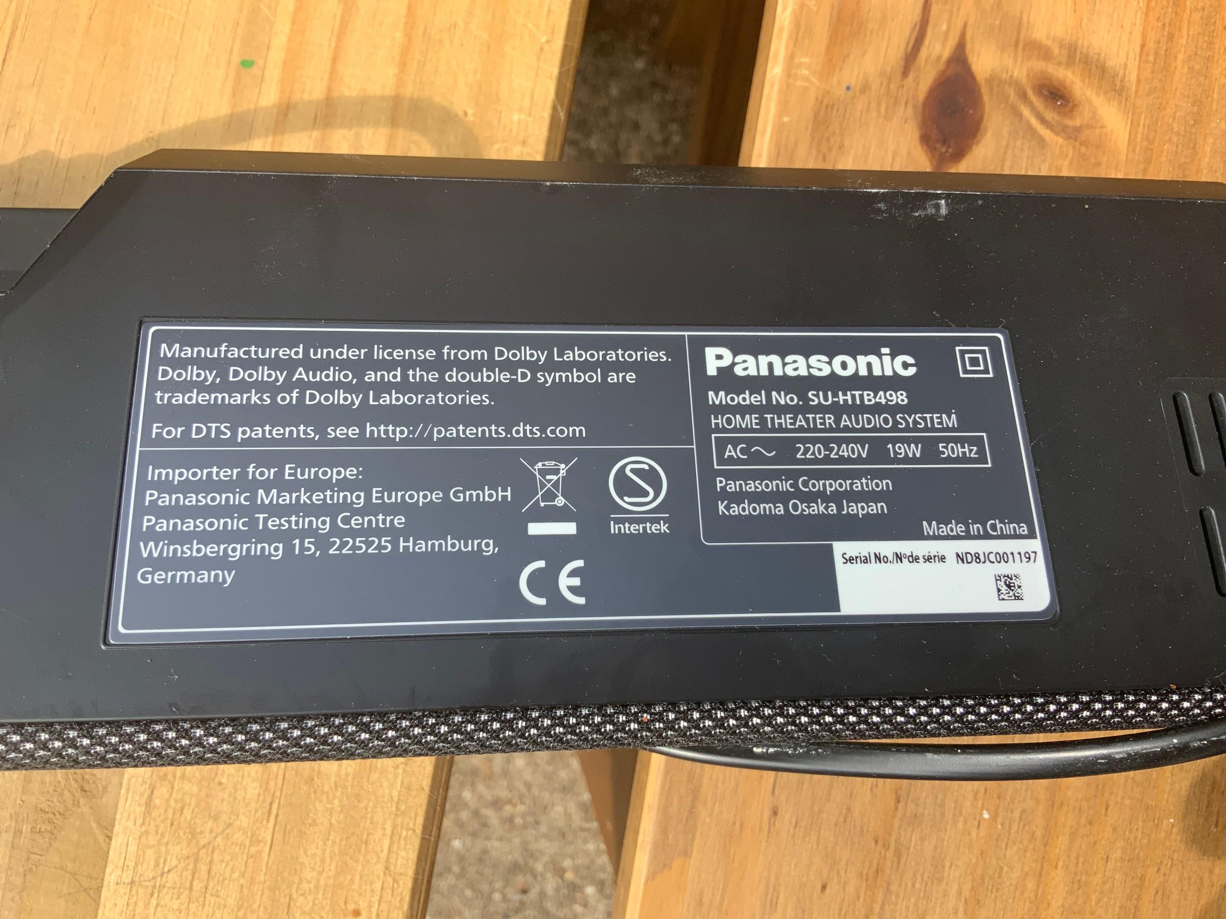 Panasonic Sound Bar and Other - Image 2 of 4