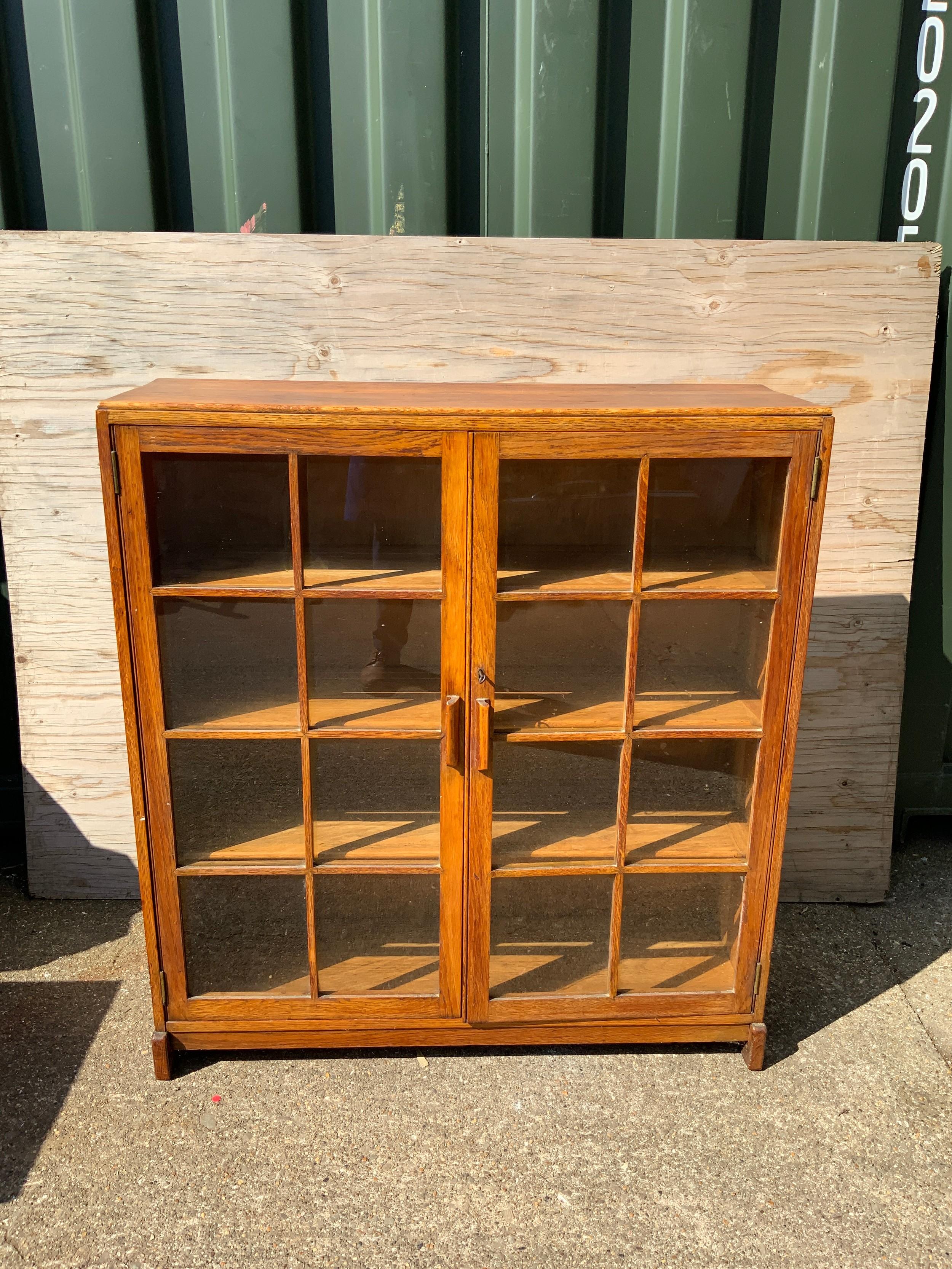 Oak Two Door Glass Fronted Cabinet - 90cm x 100cm