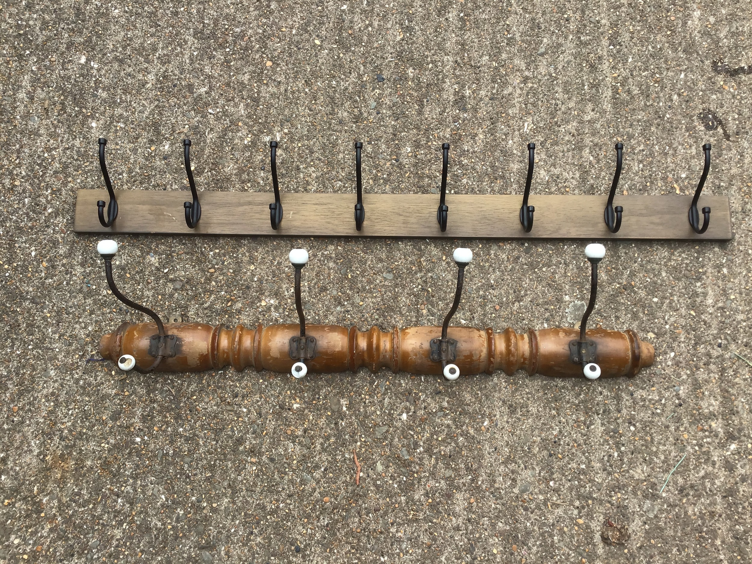 Antique French Treen Coat Hanger with Porcelain and one Other