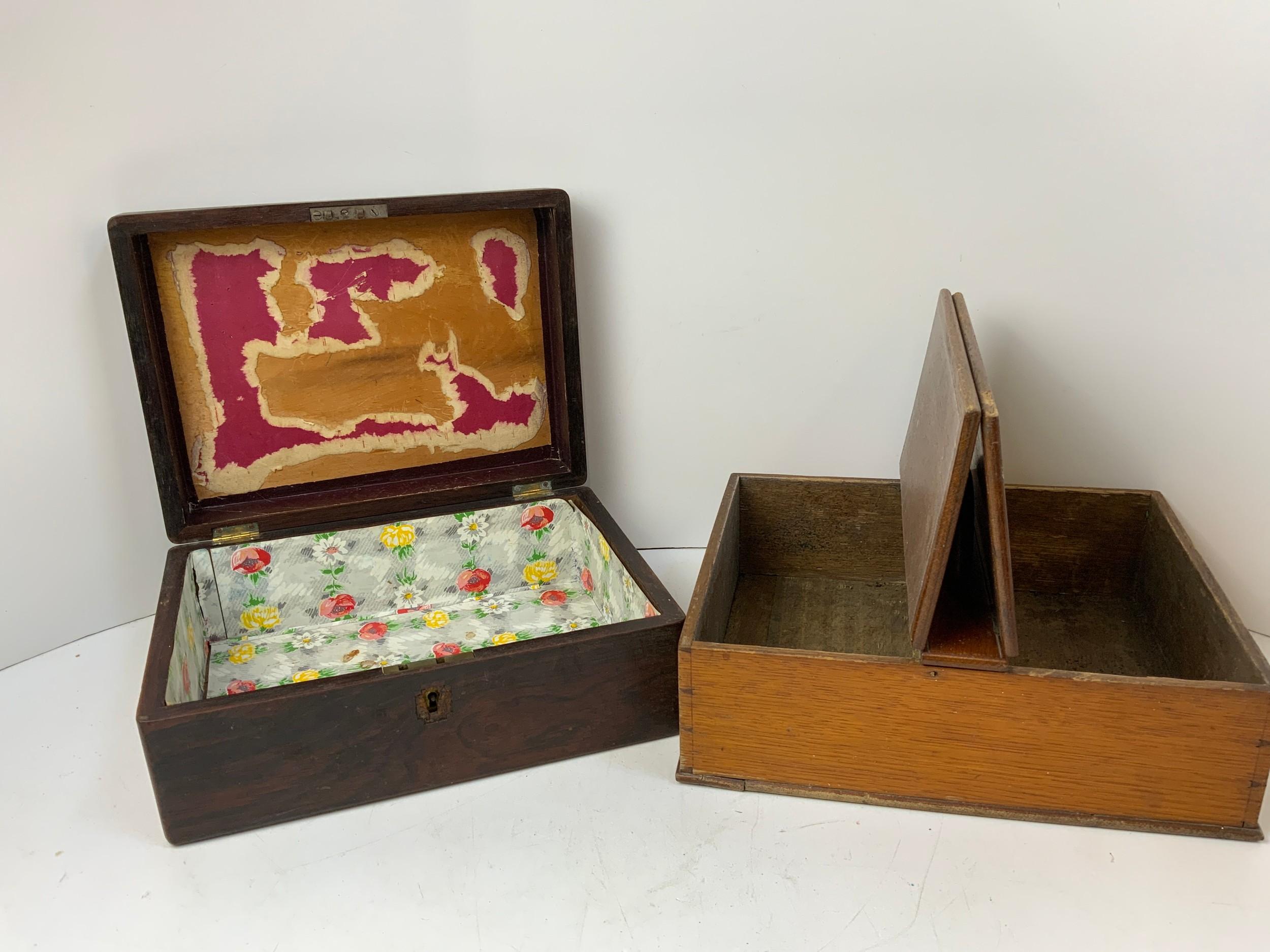 Oak Cutlery Box, Brass Bound Trinket Box and Ebony Writing Box for Restoration - Image 2 of 3