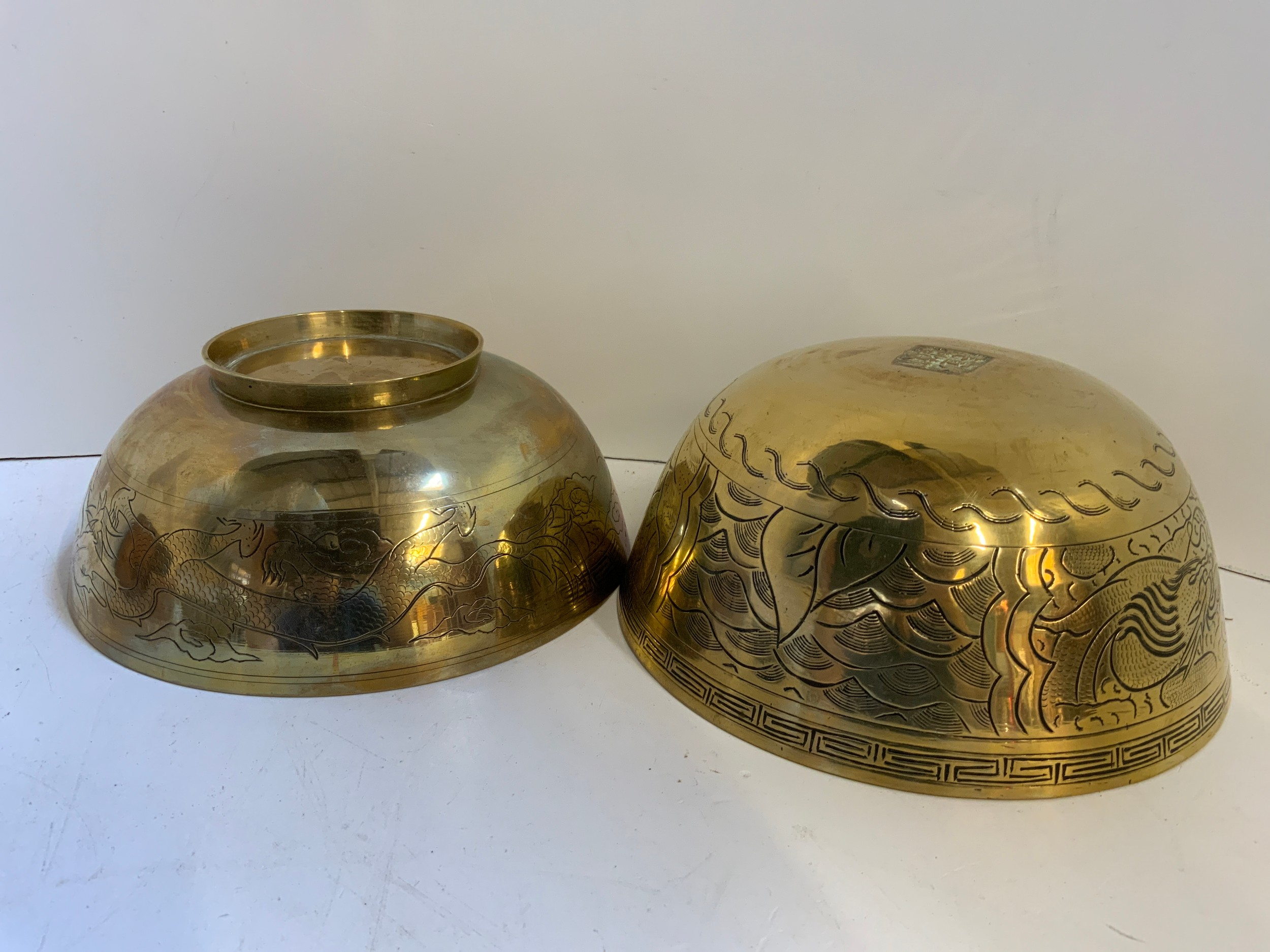Copper Saucepan (No Handle), 2x Oriental Brass Bowls and Heavy Brass Bowl - Image 3 of 3