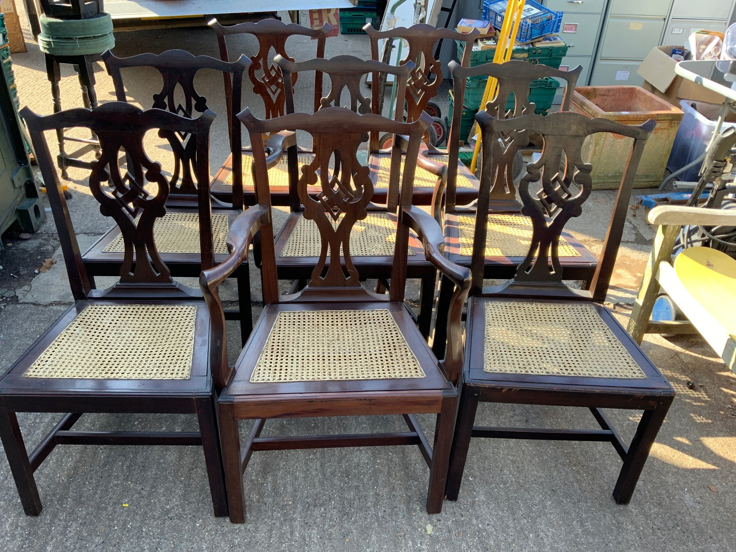 Set of Eight Cane Seated Dining Chairs - to include Two Carvers