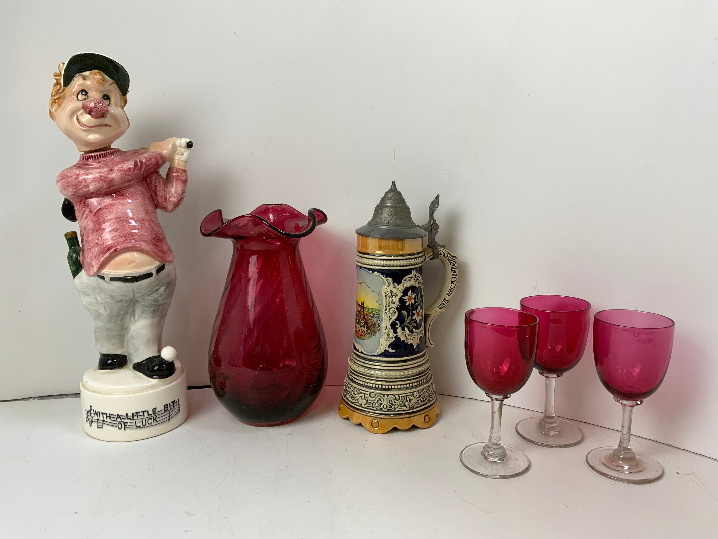 Red Glass Vase and Glasses, Stein and Novelty Musical Golf Decanter
