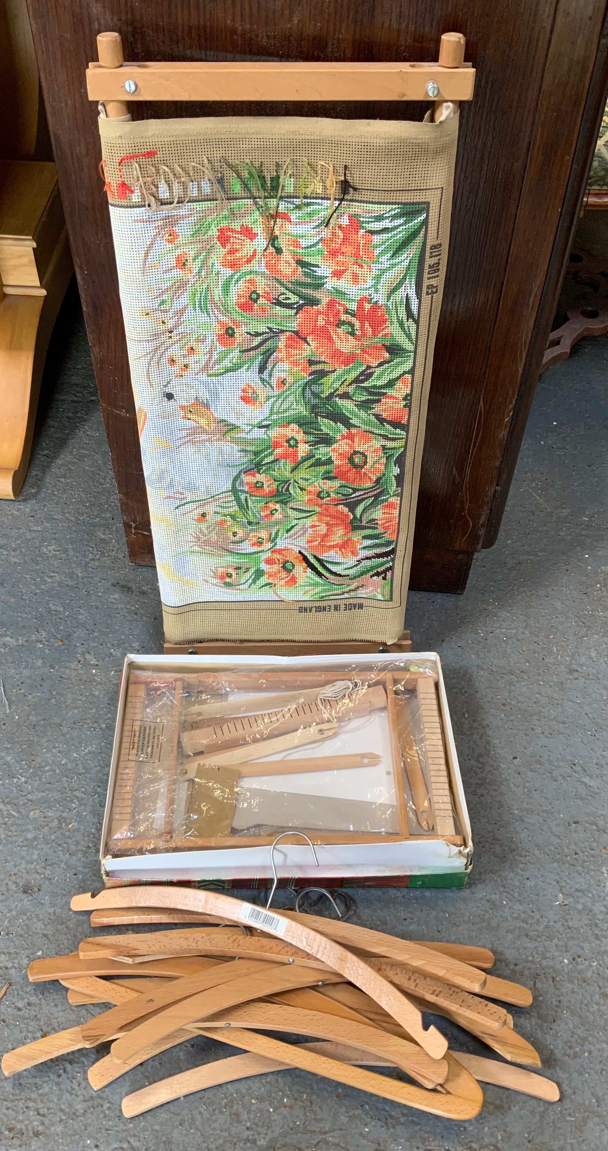 Tapestry Frame, Child's Loom and Wooden Coat Hangers