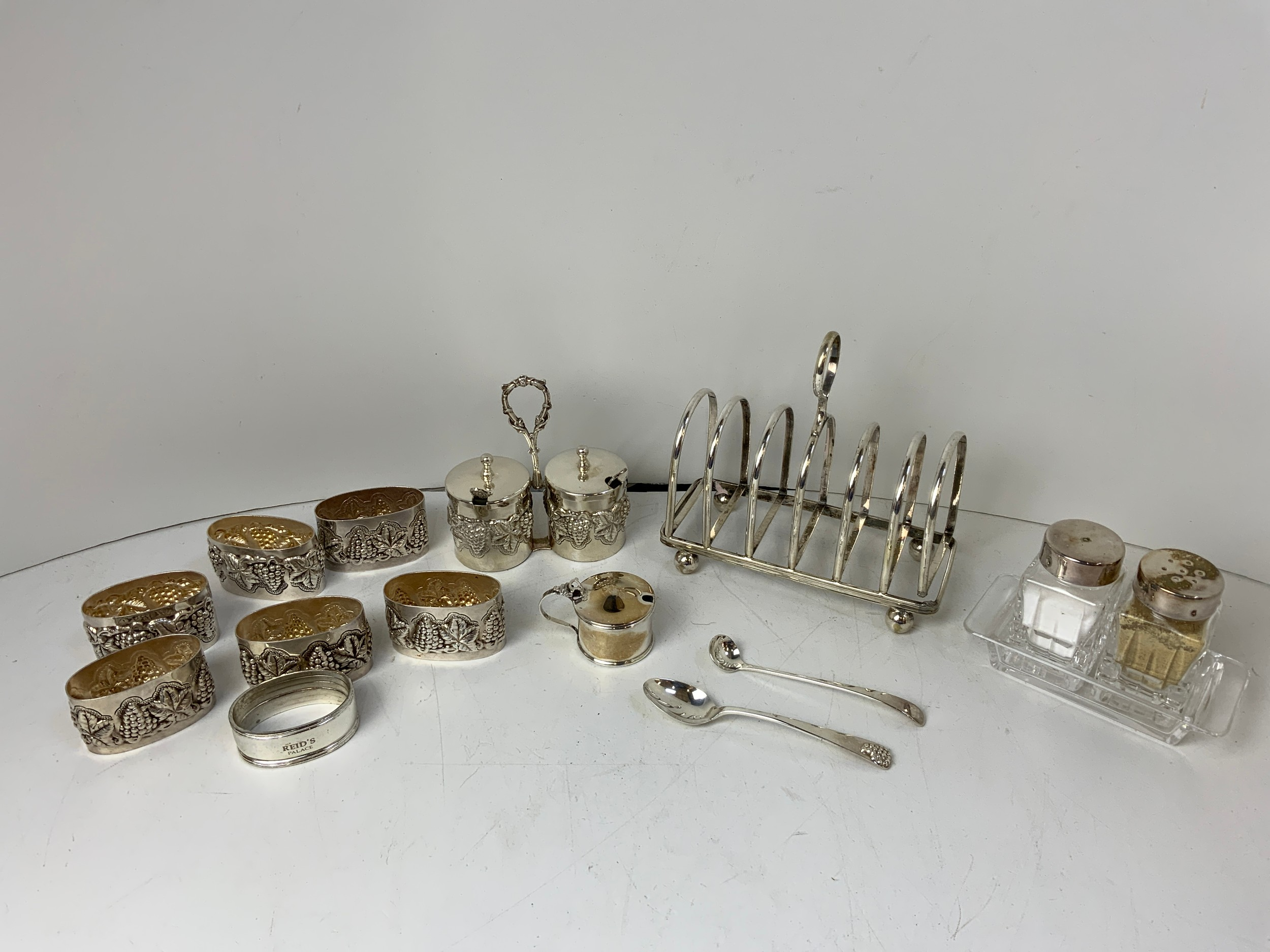 Silver Plated Napkin Rings, Toast Rack and Condiment Sets etc